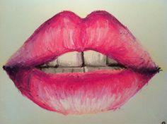 Bouche pulpeuse rouge à lèvre rose