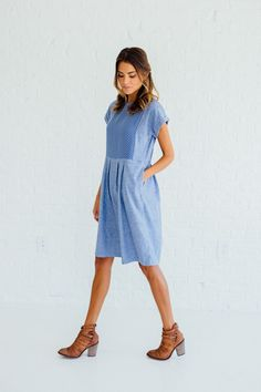 DETAILS: - Clad & Cloth Brand - Same fit as Bib Dress - Soft knit with stitch bib - Made from soft cotton blend - RUNS BIG (we recommend sizing down) - Knee length - Side zipper closure - Runs big, si Modest Dresses, Casual Dresses, Dance Dresses, Girlie Style, My Style, Modest Fashion, Fashion Dresses, Mom Fashion, Clad And Cloth