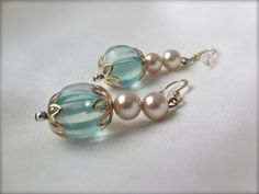 Vintage Teal Fluted Glass and Ivory Pearl Beaded by MissionJewels, $18.00