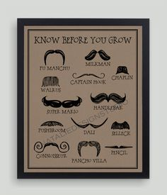 Know Before You Grow Moustache Funny Humorous Movember Quote Subway BROWN Art Print Mustache. $19.00, via Etsy.