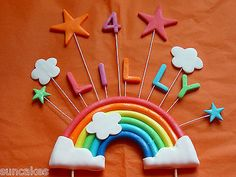 Medium Rainbow Stars Edible sugar paste cake topper decoration birthday party