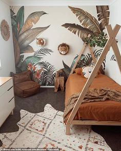 A creative Australian mum has shared images of the jungle-inspired bedroom she decorated herself for her son. Posting online, she used wall prints, rustic styled furniture and orange and green colours. Baby Boy Room Decor, Baby Room Design, Baby Bedroom, Baby Boy Rooms, Girl Room, Boys Jungle Bedroom, Jungle Baby Room, Childrens Bedrooms Boys, Boy Toddler Bedroom