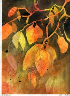 How to Paint Abstract Autumn Leaves - A free lesson by Gail Bartel at ThatArtisticWoman.org