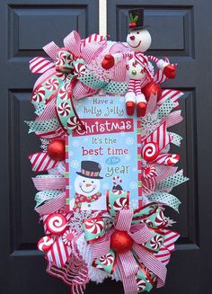 Your place to buy and sell all things handmade Hanger Christmas Tree, Front Door Christmas Decorations, Christmas Front Doors, Christmas Door Wreaths, Christmas Swags, Colorful Christmas Tree, Christmas Ribbon, Holiday Wreaths, Holiday Ornaments