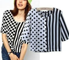 Elegant Polka Dot Striped Print Chiffon Blouse For Women, Black . Read more The post Elegant Polka Dot Striped Print Chiffon Blouse For Women, Black and White appeared first on How To Be Trendy. Kurta Designs, Blouse Designs, Tank Top Outfits, Print Chiffon, Striped Fabrics, Blouse Styles, Ladies Dress Design, Stripe Print, Blouses For Women