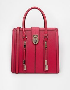 River Island Dark Red Zip Front Tote...red purse zipper detail