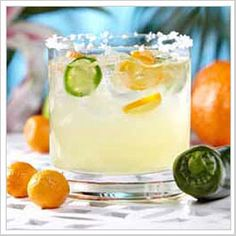 Spicy Kumquat Margarita from Tommy Bahama Summer Cocktails, Cocktail Drinks, Fun Drinks, Yummy Drinks, Cocktail Recipes, Mixed Drinks, Beverages, Cocktail Ideas, Party Drinks
