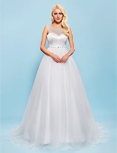 Ball Gown Scoop Court Train Tulle Wedding Dress - USD $ 199.99