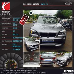 #usedCar for sale CAR INFORMATION - BMW X1 REGISTRATION # GJ-01-KM-6039 REGISTRATION DATE - OCT 2011 KILOMETERS - 21800 MODEL -  X1 FUEL TYPE - DIESEL COLOR - BLACK SAPPHIRE GEAR TRANSMISSION - AUTOMATIC INSURANCE - FULL INSURANCE NO OF OWNER - 1ST OWNER #BMW #X1 #BMWX1 #UsedBMW #Car #CarDealer #UsedCarDealer #PreOwnedCar #KrishnaCars