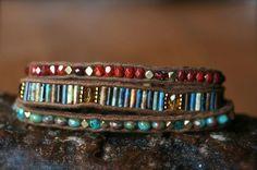 Czech fire polish wrap bracelet triple wrap by FlowSilverJewelry, $75.00
