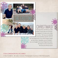 YOU PRINT Custom Christmas / Holiday Photo Card & Year End Letter / Newsletter in One - Plum and Pewter by TillyClaires, $25.00