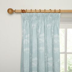 John Lewis Cow Parsley Blackout Lined Pencil Pleat Curtains, Duck Egg