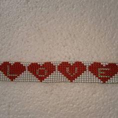 LOVE beaded loom bracelet Ask your colours! DM or WhatsApp A. Merchant : 74330 15253 R. Bead Loom Bracelets, Beaded Bracelet Patterns, Beaded Bags, Beaded Jewelry, Seed Bead Patterns, Loom Bands, Loom Beading, Bead Weaving, Bead Crafts