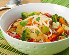 Stir Fry Soup with Rice Noodles