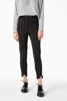 Monki Image 3 of Stretchy striped trousers in Black