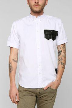 Black Apple Marion Faux-Leather Patch Pocket Button-Down Shirt