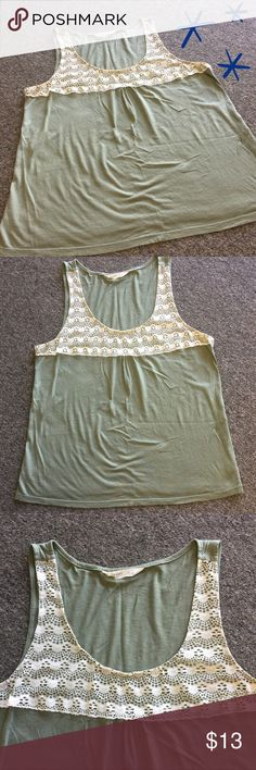 """Sage Green Lace Tank 