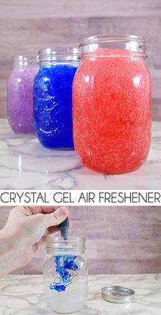 Crystal Gel Air Freshener Tutorial is part of Freshener diy - Did you know that you can make gel air fresheners at home for practically nothing with an item you get in the gardening section Truly awesome! Homemade Air Freshener, Car Freshener, Diy Car Air Fresheners, Natural Air Freshener, Homemade Cleaning Products, Natural Cleaning Products, Cleaning Hacks, Cleaning Supplies, Mason Jar Crafts