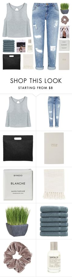 """""""if you love me, let me go"""" by nxstalgia ❤ liked on Polyvore featuring Miss Selfridge, Smythson, Byredo, Surya, Crate and Barrel, Linum Home Textiles, Topshop and Le Labo"""
