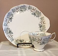 Royal Albert Bone China Tea Cup and Snack tray.  SILVER MAPLE pattern…