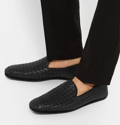 Every <a href='http://www.mrporter.com/mens/Designers/Bottega_Veneta'>Bottega Veneta</a> shoe is made by hand from start to finish - from the initial sketches to the weaving and final construction. Crafted in the label's Italian atelier, these black leather loafers features the brand's signature intrecciato upper that is so supple and light it will mould to the shape of your feet. The heels are trimmed with rubber to ensure grip a...