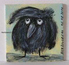 COOLE FRISUR von Herbivore11 kleine Kunst Inchie Minibild Rabe Raben Frisur Bild