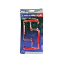 """72 Ladder hooks by FindingKing. $121.99. Ladder hooks are the simple solution for storing and organizing garages; workshops and more! Hooks are made with sturdy metal and are vinyl coated making them long lasting. No need for hardware. Hooks have screw ends making them easy to install. Each set comes with 2 ladder hooks. Comes packaged on a blister card with hanging hole. Hooks measure 6 1/4"""" long; 4"""" wide and screw area is 1 1/4""""."""