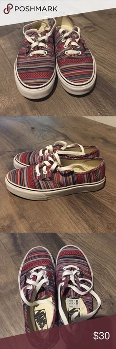 Multicolor vans Worn once for a couple hours. They still look new. The inside doesn't even have a foot print yet. The white bottom layer has a little dirt from the ground but that is normal since they were exposed to the ground. It is shown in the first pictures. Really cute, beachy type of vans. Laces are still white. Vans Shoes Sneakers