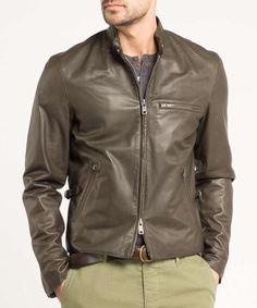 Leather Cafe Racer Jacket in Olive