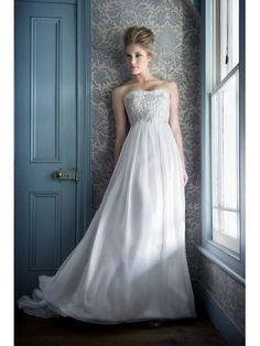French Lace Empire Softly Curved Neckline A-line Wedding Dress