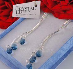 Ebay-925 STERLING SILVER LONG Earrings SWAROVSKI Elements MINI ALMOND DENIM BLUE-$17.31