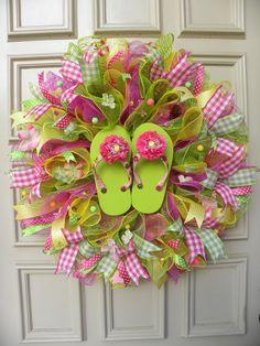 Whimsical Flip Flop Deco Mesh Door Wreath - Lime, Pink & Yellow - Patio - Decor