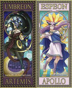 Next up is Umbreon and Espeon as the twins Artemis and Apollo. Pokemon Legal, Gif Pokemon, Pokemon Human Form, Pokemon Eevee Evolutions, Pokemon Fan Art, Cool Pokemon, Cosplay Pokemon, Digimon, Pikachu