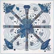 La Maison des Carrés Hermès   90 x 90 cm scarf Chemins de Corail blue Lenços 4754e785572