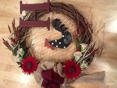 Burlap monogram wreath with rooster/chicken