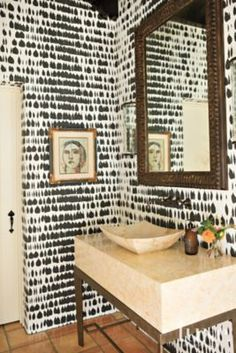 #Bold black-and-white #wallpaper inside a #historic Santa Fe #colonial-style home's master #bath. See more at www.luxesource.com. #luxe #luxemag #luxury #design #interiordesign #interiors #home #house #dwelling #residential #decor #homedecor #interiordecorating #interiordesignideas #architecture #bathroom #blackandwhite #sink