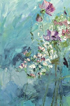 Emerald Painting Boho Flower Art Abstract Flower Turquoise Bohemian Wall Art Living Room Modern Impressionism Canvas Oil Blue White Pink Possible to perform a similar oil painting in the size you want. Hi ! This artwork is painted in oils on canvas with stretcher. Authors painting.