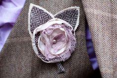 Gorgeous fabric handmade buttonhole - 1950s Inspied Vintage wedding, Scottish bride