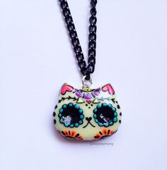 Super Cute Mexican Cat Catrina Skull Necklace by momomony on Etsy