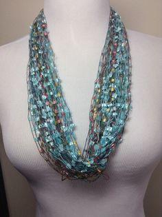 Pastel+Trellis+Fringe+Yarn+Necklace+Fringe+Yarn+by+DragonflyDenim