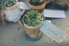 {Bridal} Mini succulent watering can favours #bomboniere #bonbonniere #succulent