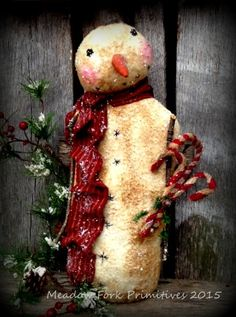 Primitive Folk Art Snowman Stump Doll with Candycanes-Mica Flakes-OOAK-Winter, Christmas, Hafair Team, FAAP by MeadowForkPrims on Etsy