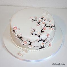 Birthday Cake With Flowers, Cute Birthday Cakes, Birthday Cakes For Women, Pretty Cakes, Cute Cakes, Beautiful Cakes, Cherry Blossom Cake, Cherry Blossom Wedding, Cake Icing Tips