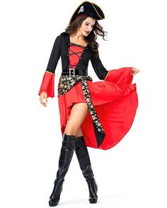 Pirate Costume Pirates of the Caribbean Drama Stage Cosplay Red Women/'s Dress