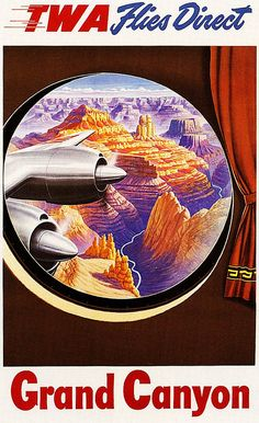 Grand Canyon and TWA Airlines vintage travel poster  USA