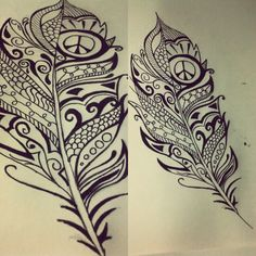 My feather tattoo that I designed. Tattoos make me happy. | tattoos picture peace tattoo