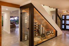 Glass Wine Cellar, Home Wine Cellars, Wine Cellar Design, Under Stairs Wine Cellar, Wine Cellar Basement, Wine Shop Interior, Home Interior Design, Open Plan Kitchen Living Room, Home Decor Kitchen