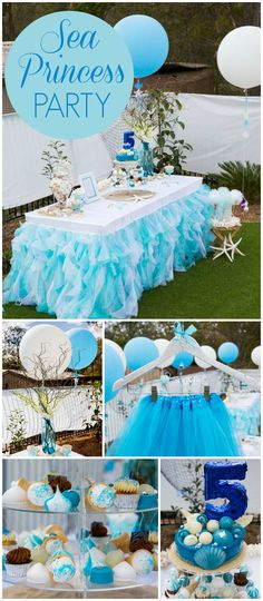 A lovely sea princess girl birthday party by a pool! All the princesses received custom star fish wand invitations! See more party planning ideas at CatchMyParty.com!