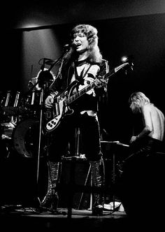English glam rock group The Sweet perform live on stage in Copenhagen Denmark in October 1974 Left to Right Steve Priest on guitar and Brian Connolly...