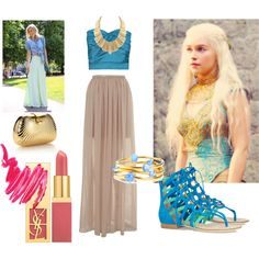 Summer Day in Qarth by WhatWouldKhaleesiWear   What Would Khaleesi Wear?A Modern Day translation of her Qarthian (?) outfits. Blue and gold ...